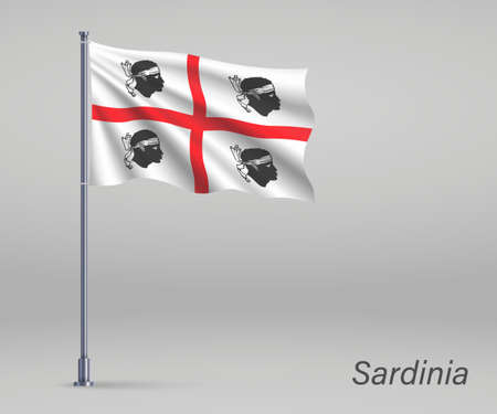 Waving flag of Sardinia - region of Italy on flagpole. Template for independence day