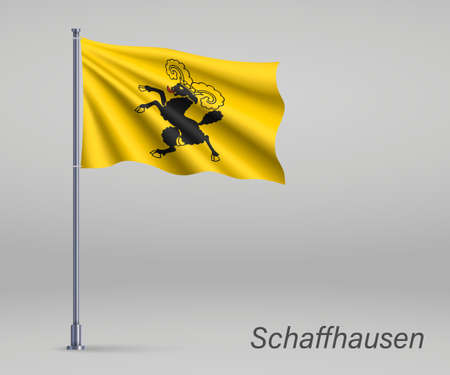 Waving flag of Schaffhausen - canton of Switzerland on flagpole. Template for independence day