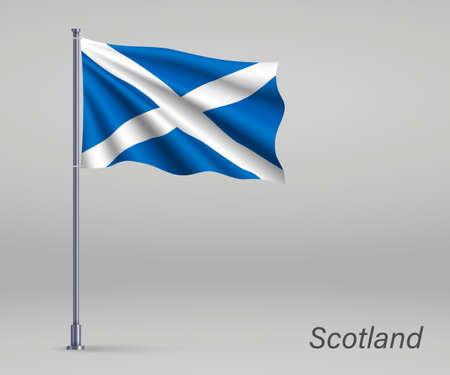 Waving flag of Scotland - territory of United Kingdom on flagpole. Template for independence day Illusztráció