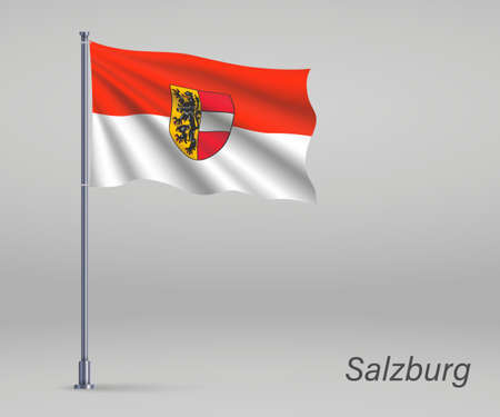 Waving flag of Salzburg - state of Austria on flagpole. Template for independence day