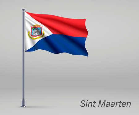 Waving flag of Sint Maarten - province of Netherlands on flagpole. Template for independence Illusztráció