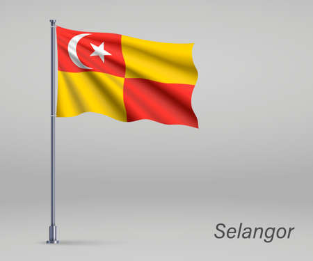Waving flag of Selangor - state of Malaysia on flagpole. Template for independence day poster