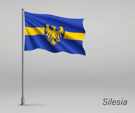 Waving flag of Silesia Voivodeship - province of Poland on flagpole. Template for independence day Illusztráció