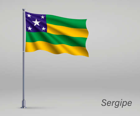 Waving flag of Sergipe - state of Brazil on flagpole. Template for independence day poster