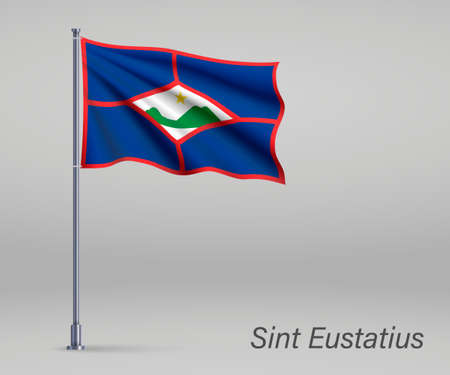 Waving flag of Sint Eustatius - province of Netherlands on flagpole. Template for independence