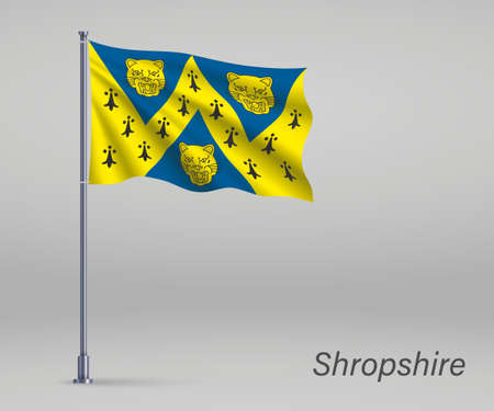 Waving flag of Shropshire - county of England on flagpole. Template for independence day