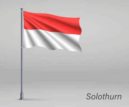 Waving flag of Solothurn - canton of Switzerland on flagpole. Template for independence day