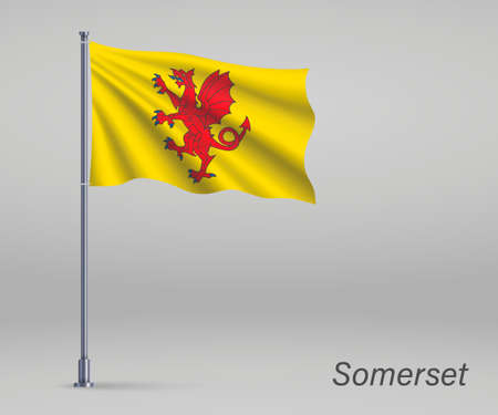 Waving flag of Somerset - county of England on flagpole. Template for independence day