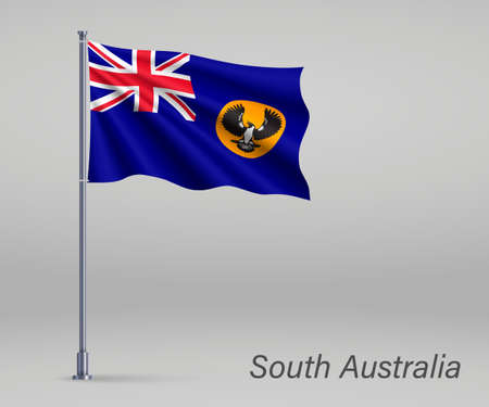Waving flag of South Australia - state of Australia on flagpole. Template for independence day