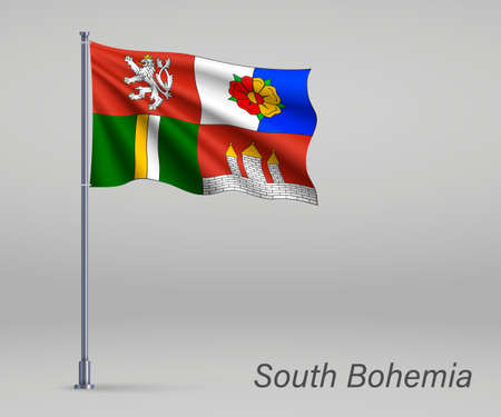 Waving flag of South Bohemia - region of Czech Republic on flagpole. Template for independence day 向量圖像