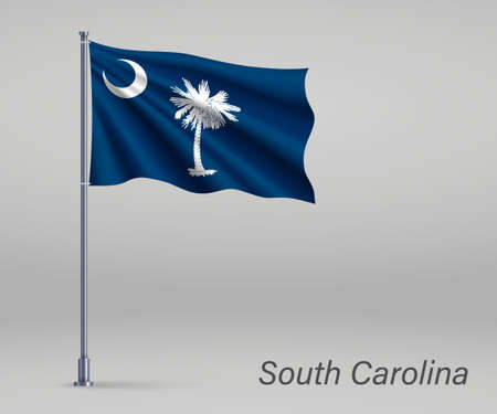 Waving flag of South Carolina - state of United States on flagpole. Template for independence day poster Illusztráció