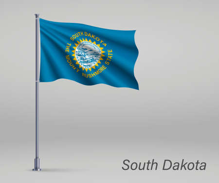 Waving flag of South Dakota - state of United States on flagpole. Template for independence day poster