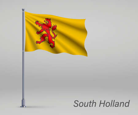 Waving flag of South Holland - province of Netherlands on flagpole. Template for independence