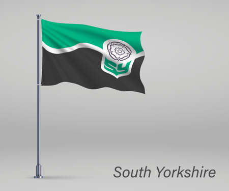 Waving flag of South Yorkshire - county of England on flagpole. Template for independence day
