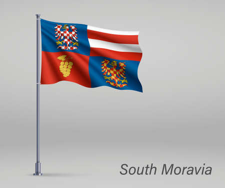 Waving flag of South Moravia - region of Czech Republic on flagpole. Template for independence day Illusztráció