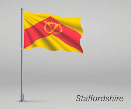 Waving flag of Staffordshire - county of England on flagpole. Template for independence day