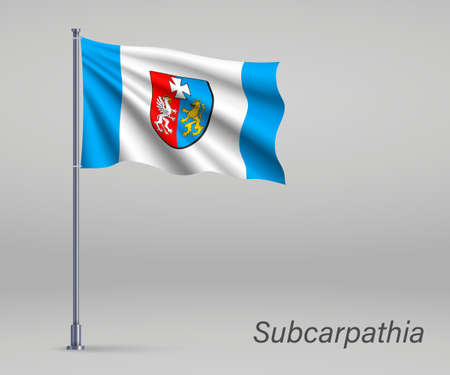 Waving flag of Subcarpathia Voivodeship - province of Poland on flagpole. Template for independence day