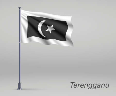 Waving flag of Terengganu - state of Malaysia on flagpole. Template for independence day poster