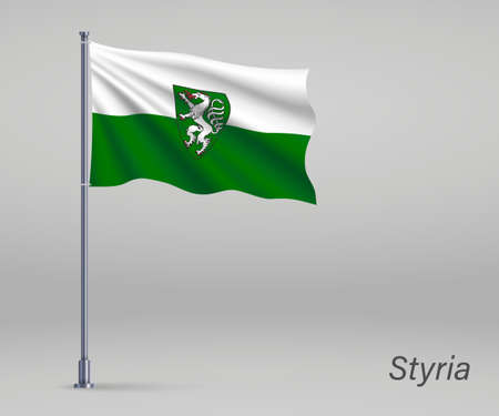 Waving flag of Styria - state of Austria on flagpole. Template for independence day Ilustração