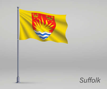 Waving flag of Suffolk - county of England on flagpole. Template for independence day