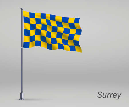 Waving flag of Surrey - county of England on flagpole. Template for independence day Ilustração