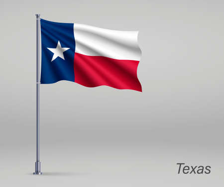 Waving flag of Texas - state of United States on flagpole. Template for independence day poster Ilustração