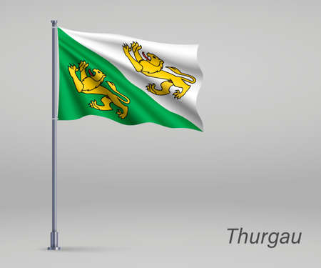 Waving flag of Thurgau - canton of Switzerland on flagpole. Template for independence day Ilustração