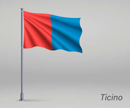 Waving flag of Ticino - canton of Switzerland on flagpole. Template for independence day Ilustração