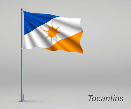 Waving flag of Tocantins - state of Brazil on flagpole. Template for independence day poster