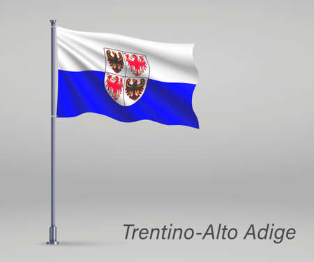 Waving flag of Trentino-Alto Adige - region of Italy on flagpole. Template for independence day