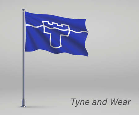 Waving flag of Tyne and Wear - county of England on flagpole. Template for independence day