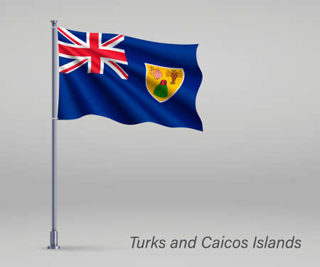 Waving flag of Turks and Caicos Islands - territory of United Kingdom on flagpole. Template for independence day