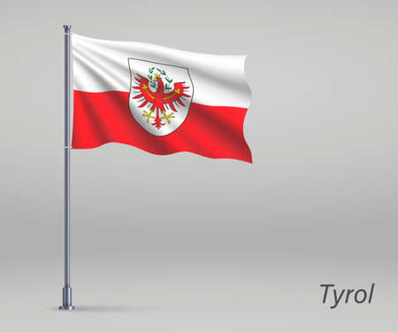 Waving flag of Tyrol - state of Austria on flagpole. Template for independence day Ilustração