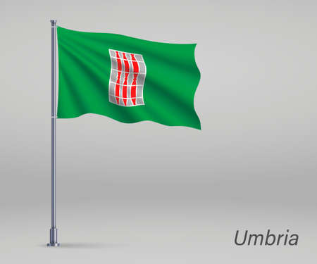 Waving flag of Umbria - region of Italy on flagpole. Template for independence day Ilustração