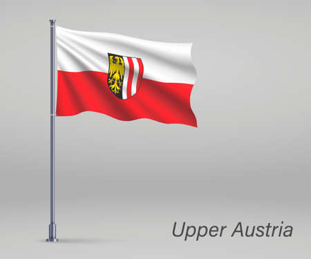 Waving flag of Upper Austria - state of Austria on flagpole. Template for independence day