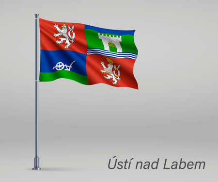 Waving flag of Usti nad Labem - region of Czech Republic on flagpole. Template for independence day Ilustração