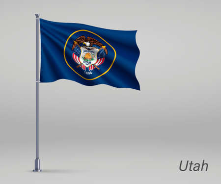 Waving flag of Utah - state of United States on flagpole. Template for independence day poster