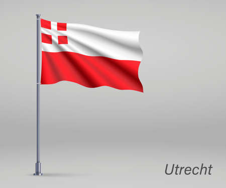Waving flag of Utrecht - province of Netherlands on flagpole. Template for independence