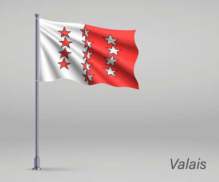 Waving flag of Valais - canton of Switzerland on flagpole. Template for independence day