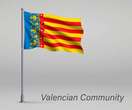 Waving flag of Valencian Community - region of Spain on flagpole. Template for independence day poster