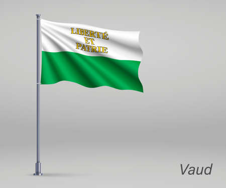 Waving flag of Vaud - canton of Switzerland on flagpole. Template for independence day
