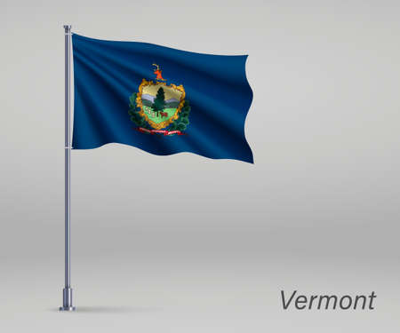 Waving flag of Vermont - state of United States on flagpole. Template for independence day poster