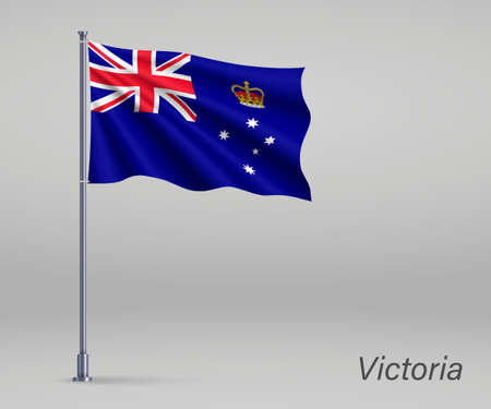 Waving flag of Victoria - state of Australia on flagpole. Template for independence day
