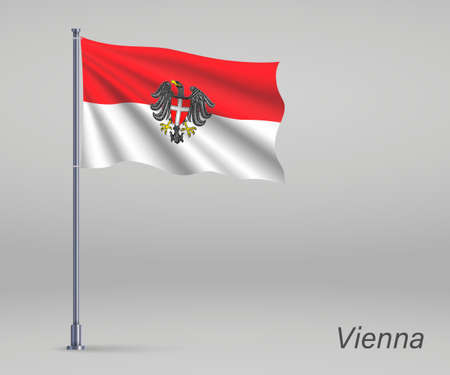 Waving flag of Vienna - state of Austria on flagpole. Template for independence day