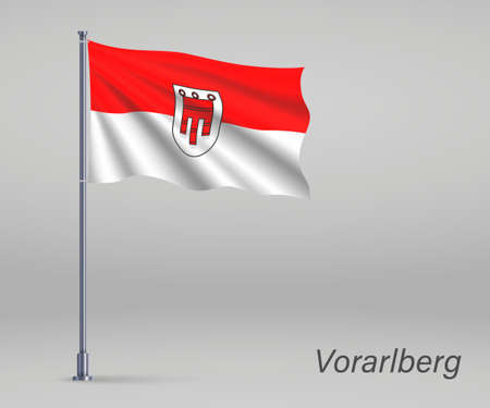 Waving flag of Vorarlberg - state of Austria on flagpole. Template for independence day Ilustracja