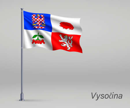 Waving flag of Vysocina - region of Czech Republic on flagpole. Template for independence day Ilustração