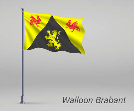 Waving flag of Walloon Brabant - province of Belgium on flagpole. Template for independence day