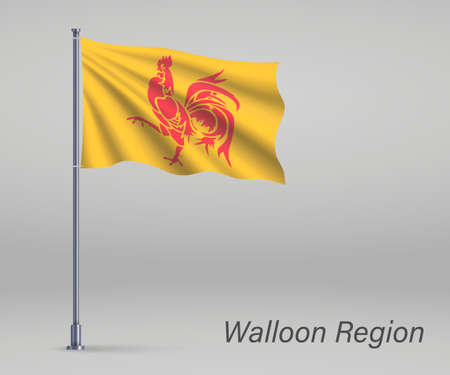 Waving flag of Walloon Region of Belgium on flagpole. Template for independence day Ilustração