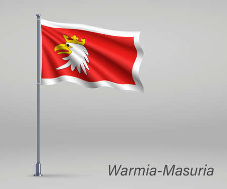 Waving flag of Warmia-Masuria Voivodeship - province of Poland on flagpole. Template for independence day