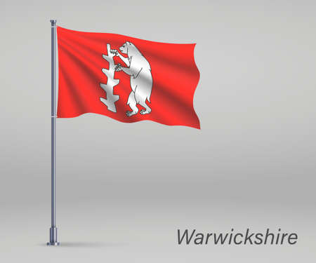 Waving flag of Warwickshire - county of England on flagpole. Template for independence day